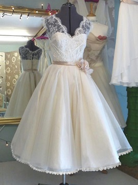 Casual V Neck Lace A Line Tea Length Wedding Dress
