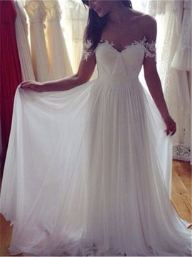 Off the Shoulder A-Line Long Appliques Wedding Dress