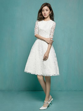 Fancy Scoop Neck Half Sleeves Knee-Length Lace Wedding Dress