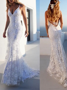 Spaghetti Straps Mermaid Lace Beach Wedding Dress