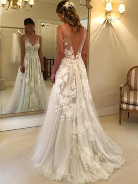 V-Neck A-Line Appliques Country Wedding Dress