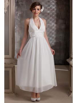 Plain Empire Halter Ankle-Length V Neck Daria's Wedding Dress