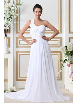 Gorgeous One-Shoulder Informal Empire Sleeveless Chapel Tarin Beach Taline's Wedding Dress