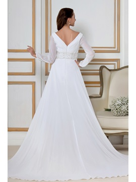 Glamorous Empire Long Sleeves Chapel Train Sandra's Wedding Dress
