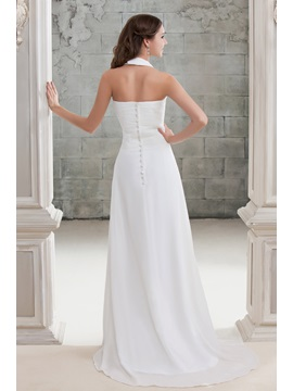 Halter A-Line Beach Wedding Dress