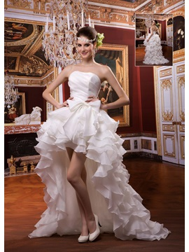 Fantastic A-line Asymmetry-Length Strapless Ruffles Wedding Dress