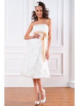 Spectacular Empire Strapless Sash Lace Tea-length Renata