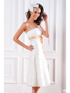 Spectacular Empire Strapless Sash Lace Tea-length Renata's Wedding Dress