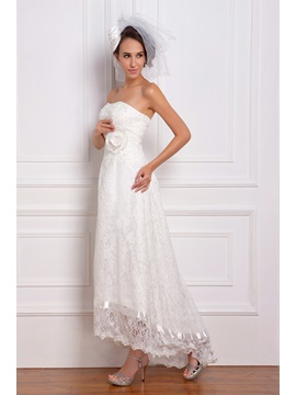 Excellent Asymmetry-Length Strapless Lace Renata's Wedding Dress WG2339