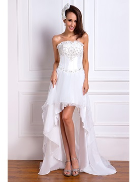 Fantastic A-line Strapless Sleeveless Short/Mini Watteau Renata's Wedding Dress