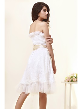 Airy A-Line Sweatheart Knee-Length Sashes Taline's Wedding Dress