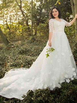 V-Neck A Line Half Sleeves Appliques Beading Plus Size Wedding Dress
