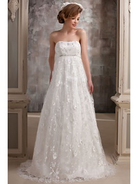 Gorgeous Lace Strapless Empire Beaded Court Daria