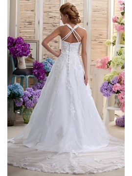 Gorgeous A-Line Halter Sleeveless Appliques Beaded Nastya's Wedding Dress