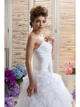 Perfect White Mermaid Sleeveless Ruffles Sweetheart Veronika's Wedding Dress
