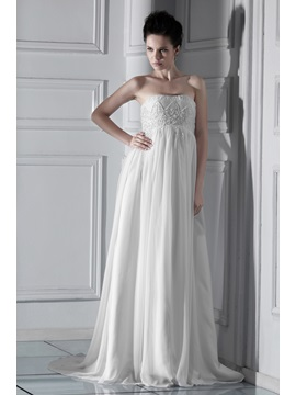 Fashion Empire Strapless Floor-length Court Beaded Ksenia's Wedding Dress