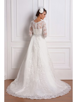 Empire 3/4-Length Sleeve V-neck Lace Renata's Wedding Dress