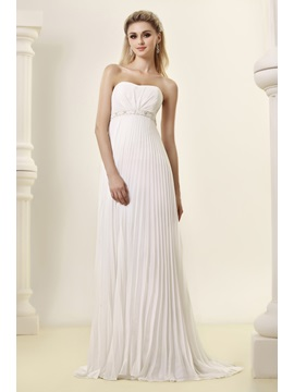 Pretty Empire Strapless Ruffles Beach Sweep Train Dasha's Wedding Dress