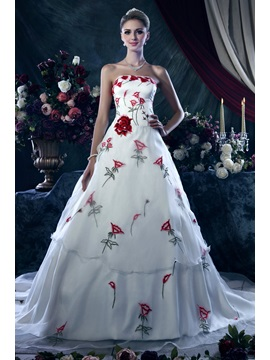 Affordable A-Line Strapless Floral Embroidery Dasha