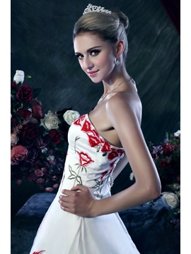 Affordable A-Line Strapless Floral Embroidery Dasha's Wedding Dress