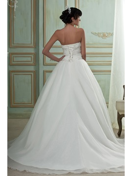Strapless Ball Gown Embroidery Sweeping Wedding Dress