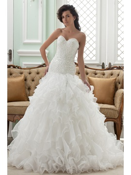 Buy Gorgeous Strapless Ruffles Sweetheart Chapel Train Wedding Dress