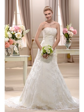 Pretty A-line Chapel Strapless Floor-length Appliques Wedding Dress