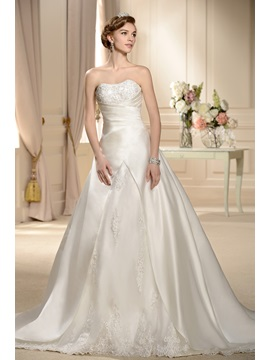 Classic A-line Embroidering Strapless Chapel Wedding Dress