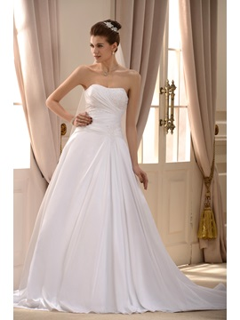Simple Style Strapless A-Line Sweep Train Hot Sell Appliques Wedding Dress