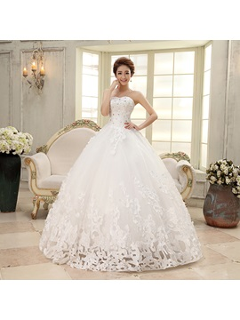 New Sleeveless Ball Gown Floor-length Pattern Wedding Dress