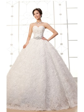Luxurious A-Line Floor-length Flower Sweetheart Lace-up Beading Wedding Dress