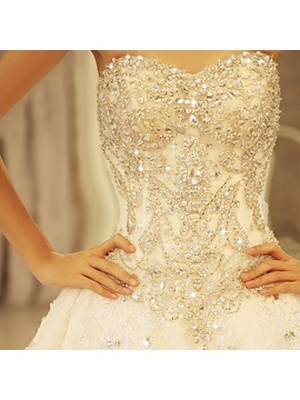 Glamorous Ball Gown Floor-length Sweetheart Beading Lace-up Cathedral Wedding Dress