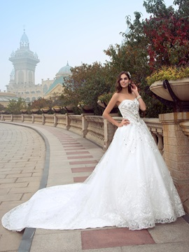 Delicate Beaded Sweetheart Cathedral Wedding Dress