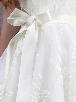 Strapless Tiered Lace Wedding Gown with Sashes