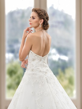 Strapless Beaded Sweetheart Appliques A-Line Wedding Dress