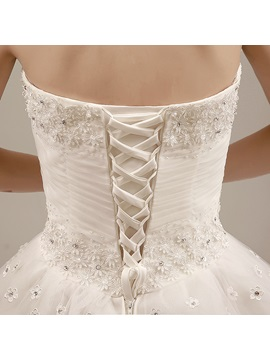 Ruched Beaded Sweetheart Floor Length Ball Gown Wedding Dress