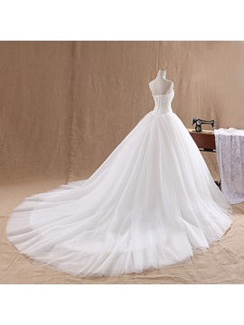 Pure Ball Gown Strapless Lace Top Wedding Dress