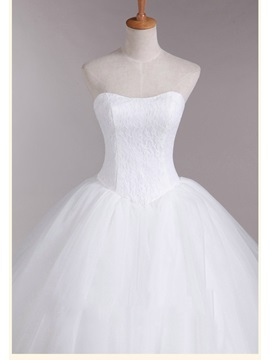 Floor Length Ball Gown Strapless Lace White Wedding Dress