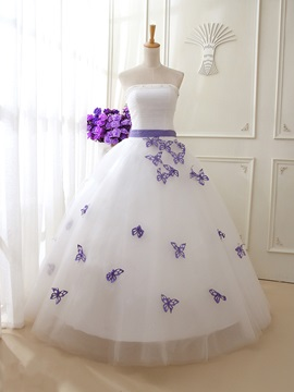 Dramatic Beaded Strapless Butterfly Sashes Wedding Dress