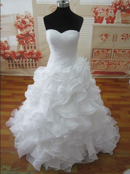 Buy Floor Length A-Line Ruched Sweetheart Ruffles White Wedding Dress