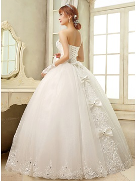 Strapless Sweetheart Ruched Beaded Corset Lace Appliques Bowknot Ball Gown Wedding Dress