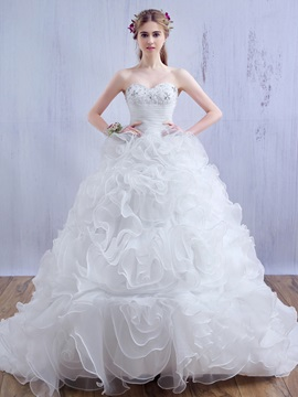 Beaded Lace Sweetheart Ruffles Organza Ball Gown Wedding Dress