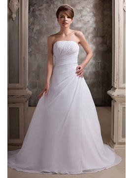 Amazing A-Line/Princess Strapless Floor-length Chapel Daria's Wedding Dress