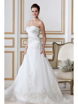 Gorgeous A-Line Sweetheart Strapless Chapel Train Embroidery Sandra's Wedding Dress