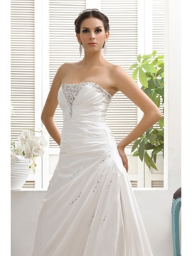 Simple Style A-line Strapless Sleeveless Chapel Lace-up Taline's Beach Wedding Dress