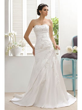 Attractive A-line/Princess Strapless Matte Taline's Wedding Dress