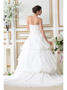 Spectacular A-line Strapless Chapel Tiered Taline's Wedding Dress