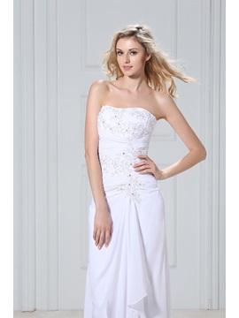Chic Strapless Asymmetrical-Length Sheath/Column Dasha's Wedding Dress