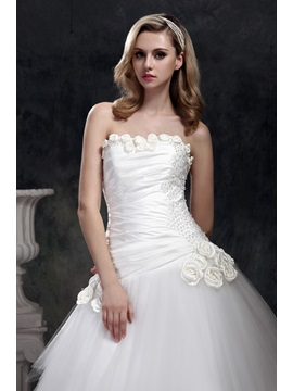 Brilliant Strapless Ball Gown Chapel Train Dasha's Wedding Dress