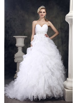 Fantastic Sweetheart Beaded Waist Ruffling  A-Line Wedding Dress